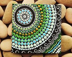 Aboriginal Art Dot Painting, small Original acrylic painting on canvas board, green decor, Coastal Art, 10cm x 10cm