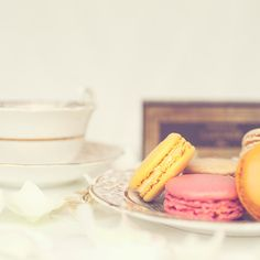 Vintage Tea cup & Macarons photography by Jane Packard on etsy