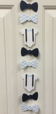 Bow Tie, Suspender Onesie Paper Garland Double-Sided Light Blue and White…