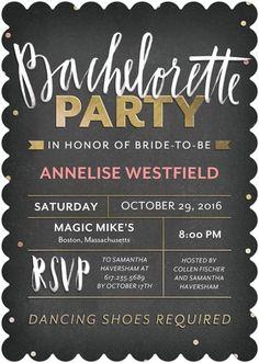 Chalk Spotlight - Signature White Bachelorette Party Invitations - Petite Alma - Posies - Pink    www.WeddingPaperDivas.com