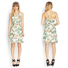SOLD HP Forever 21 Chiffon Floral Dress Chiffon dress featuring a floral print and strappy back detail. Color ivory/green. Finished with a plunging v-neckline and concealed back zipper. Fully lined woven 100% polyester. ✨Save $$$ when bundling with other items. NO TRADE Forever 21 Dresses