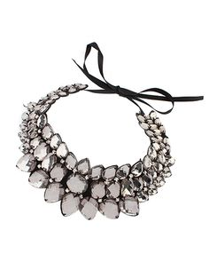Coffee Gemstone Bowtie Bib Necklace AC0020118-2