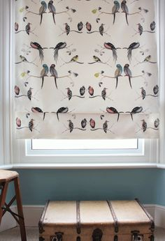 Perched Birds Curtain Fabric by Louis Body. A charming fabric featuring colourful birds perched on branches. Suitable for light domestic upholstery, soft furnishings and curtains. Bird Curtains, Curtain Fabric, Drapes Curtains, Sitting Room Decor, Retro Living Rooms, Made To Measure Curtains, Fabric Birds, Buy Fabric, Interior Inspiration