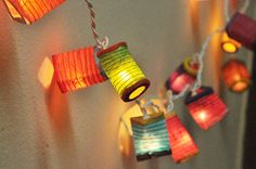 20 Bulbs Paper Lantern String Lights Mixed Colour by smilecotton, $15.50
