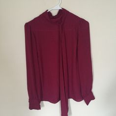 Burgundy dressy top ‼️ Free shipping via ️️  (will be sent via first class mail, 3-5 days!) ‼️                                                                                 Red/burgundy maroon dressy top from F21. Size small. Perfect condition. Wore once two years ago on Christmas! No trades. Price is firm. American Apparel Tops Blouses