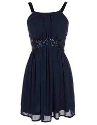 Navy Sequin Trim Dress