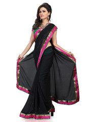 Black Color Wrinkle Chiffon Function & Party Wear Sarees : Nutan Collection  YF-41340