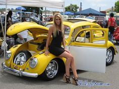 Yellow VW Beetle # sexy car girl # mini skirt heels ?... X Bros Apparel Vintage Motor T-shirts, Volkswagen Beetle & Bus T-shirts, Great price… ?