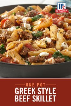 This easy Greek Style Skillet gets a burst of flavor from garlic powder, cinnamon, and oregano. Made in just one pot, it's the perfect weeknight meal with easy cleanup-- and great way to sneak in veggies for dinner! Greek Recipes, Meat Recipes, Pasta Recipes, Chicken Recipes, Dinner Recipes, Cooking Recipes, Healthy Recipes, Cooking Tips, Pasta Dishes