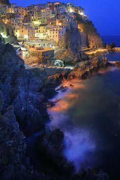 Dusk, Manarola, Cinque Terre National Park, Italy by Inge Johnsson!