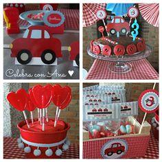 fiesta de cumple coches rojos 3 Gran Cumpleaños Mis Coches Rojos de Celebra con Ana