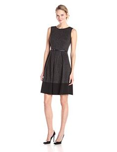 7b5e25c2ac Calvin Klein Women s Sleeveless Printed Belted Fit-and-Flare Dress at Amazon  Women s Clothing store