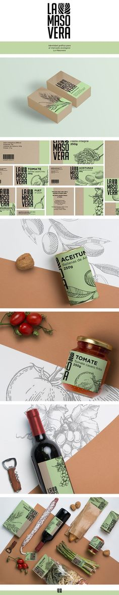 (54) Identidad gráfica para un supermercado ecológico ficticio. | graphic design | Pinterest / Branding / Ideas / Inspiration / Packaging / Design / Organic / Ecologic / Supermarket / Carton / Pale Green / Brand / Botanical / Nature