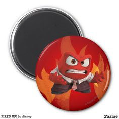 Inside Out - FIRED UP! 2 INCH ROUND MAGNET, home decor, decoración. Regalos, Gifts. #imanes #magnets