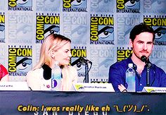 Colin's reaction at getting his role for Captain Hook. And Jennifer being adorable!