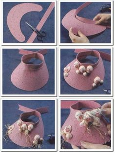 Hat Patterns To Sew, Doll Patterns, Sewing Patterns, Sewing Clothes, Doll Clothes, French Bulldog Clothes, Diy Hat, Flower Hats, Sewing Projects For Kids