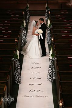 """I have found the one whom my soul loves...""  Song of Solomon 3:4.  We specialize in painting Scripture and Bible verse on wedding aisle runners.  All our runners are made of real fabric!   Designing the Aisle ~ Runners with Style"
