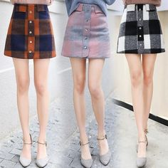 bfcb35c78fa 2018 Fashion High Waist Wool Mini Skirts Womens Spring Winter  Single-breasted Plaid Skirt Plus Size A-line Mini Skirt faldas