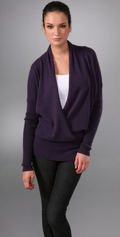Vince Wrap Front Cashmere Sweater with Rib Sleeve