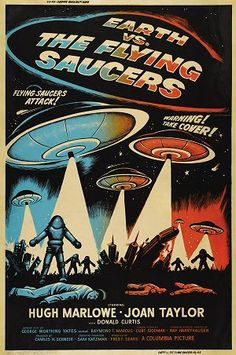 EARTH VS. THE FLYING SAUCERS (1956) - Hugh Marlowe - Joan Taylor - Donald Curtis - Directed by Fred F. Sears - Columbia Pictures - Movie Poster.