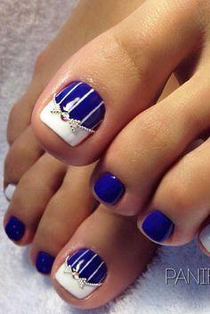 ideas french pedicure designs beach for 2019 Pretty Toe Nails, Cute Toe Nails, Toe Nail Art, Pretty Toes, Pretty Pedicures, Nail Designs Pictures, Toe Nail Designs, Nails Design, Blue Nails