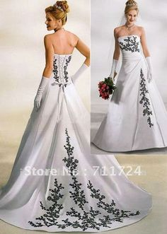 black & white wedding dresses | white and black embroidery A-line satin corset wedding dress