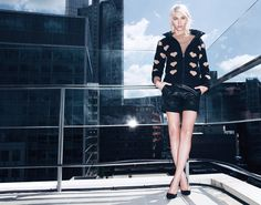 TWIN-SET Simona Barbieri: Double-faced down jacket, mohair knit, bermuda shorts in raw cut leather and suede court shoes