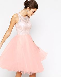 Chi Chi London Applique Bust Midi Debutante Prom Dress With Tulle Skirt $104