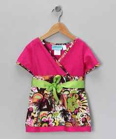 Take a look at this Pink & Green Hawaii Kimono Dress - Toddler & Girls by Coradorables on #zulily today!