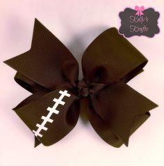 Football hair bow / double layer hair bow / boutique hair bow / fall hair bow by Kellyskrafts37 on Etsy https://www.etsy.com/listing/245747117/football-hair-bow-double-layer-hair-bow