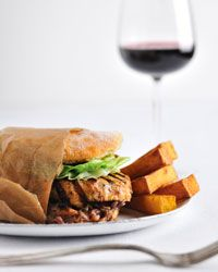 Chicken Burgers with Spicy Peanut Sauce Recipe on Food & Wine
