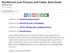 Nordstrom promo code and coupon. Get best deals, promos, discounts for top brands from nordstrom.com