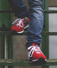 Red New Balance Sneakers, Men's Spring Summer Fashion. Stylish Mens Fashion, Leather Fashion, Fashion Shoes, Fashion Fashion, Men's Spring Summer Fashion, Zapatillas New Balance, Basket Sneakers, Nike Wedges, Baskets