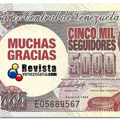 Ya son 5000 mil seguidores! Gracias a todos ustedes que nos acompañan cada día con sus comentarios y likes.  Somos un medio de comunicación que lleva lo mejor y más noticioso de Venezuela a ustedes los venezolanos en el exterior en especial los que residen en Madrid España. Etiqueta a otros amigos para que se sumen a esta ventana de los venezolanos. GRACIAS! #Celebración #News #Tredy #Venezuela #España #Followme
