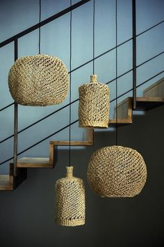 Natural jute pendant light shade for the rustic look Plank Ceiling, Home Ceiling, Ceiling Beams, Sisal, Hanging Ceiling Lights, Room Lights, Hanging Lamps, Vintage Loft, Boho Lighting