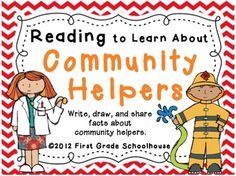 Reading to Learn About Community Helpers by First Grade Schoolhouse. Integrate literacy and social studies with ten different community helper printables: doctor, mail carrier, medical technician, firefighter, sanitation worker, teacher, farmer, nurse, librarian, and police officer. Each printable has a place for students to write 3 facts about the helper and illustrate their writing {also has a picture of each helper}. They even get friends' signatures after reading their writing to them. $