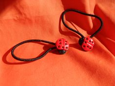 Ladybug pony tail rings.....   suitable for toddlers by MsMartyD, $4.00
