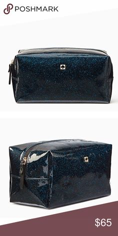 """Kate Spade Medium Davie Off Shore Navy Makeup Bag Kate Spade New York MEDIUM DAVIE Mavis Street  Item number: WLRU2369  Color: Off Shore (Navy Sparkle)   Condition: New with original tags and packaging  Dimensions: 4"""" high 4"""" wide 8"""" long  💥SHIPS FAST ❌Trades❌ 🎀Happy to bundle🎀 kate spade Bags Cosmetic Bags & Cases"""