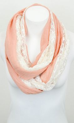Peach & White Lace Mix Infinity Scarf