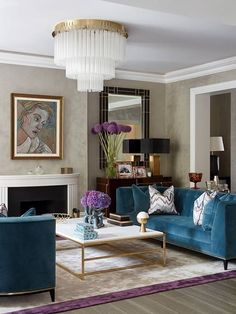 ***P: Not a fan of the teal or the gold coffee table frame. Light fixture feels like luxury.*** Teal Art Deco Living Room decor with teal velvet sofa teal decor Living Room Decor Elegant, Art Deco Living Room, Teal Living Rooms, Living Room Sofa, Home Living Room, Living Room Designs, Teal Room Decor, Blue Velvet Sofa Living Room, Piano Room Decor