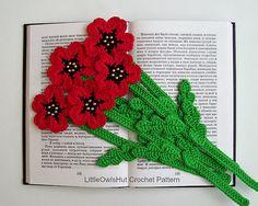 Ravelry: 075 Poppy bookmark or decor pattern by LittleOwlsHut