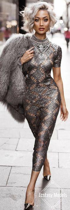 Silver Slay // Robe Hot Miami Styles // Look Fashion par Micah Gianneli - M . Style Miami, Hot Miami Styles, Sexy Dresses, Beautiful Dresses, Evening Dresses, Gorgeous Dress, Miami Fashion, High Fashion, Womens Fashion