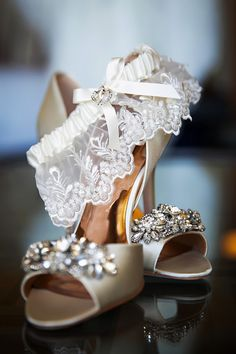 a35f7aa85e0284 Glam bridal shoe idea - open-toed neutral heels with crystal embellishments   Limelight Photography