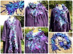 Handmade Nuno felted silk & wool narrow scarf purple blue grey - lagenlook OOAK
