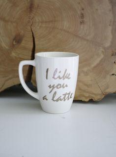Glitter I like you a latte mug