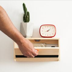 Minimalistic wall shelf floating shelf drawer by CraftedbyOitenta