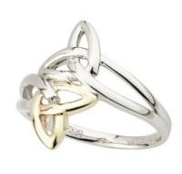 Silver & 10K Gold Trinity Knot Ring set with Real Diamond #Trinity #Knot #Ring #Celtic