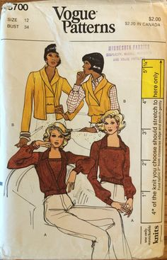 VTG 8700 Vogue 1970's misses' sweaters  vests by ThePatternParlor