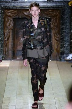 Ironic that #camouflage is meant to conceal. But you will be noticed and pronounced #brutallychic immediately in this suit from @valentino Spring 2015. www.valentino.com #menswear