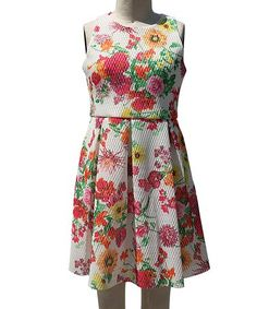 Another great find on #zulily! White Floral A-Line Dress - Girls #zulilyfinds